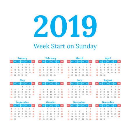 2019 year vector calendar. Weeks start on Sunday