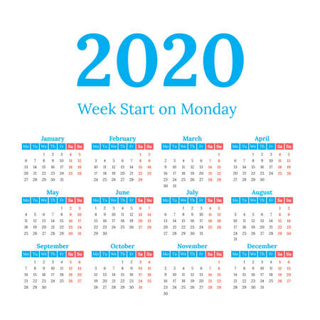 2020 year vector calendar. Weeks start on monday Illusztráció