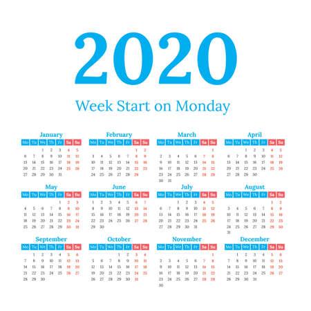 2020 year vector calendar. Weeks start on monday Illustration