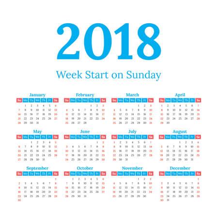 2018 year vector calendar. Weeks start on Sunday