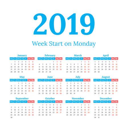 2019 year vector calendar. Weeks start on monday