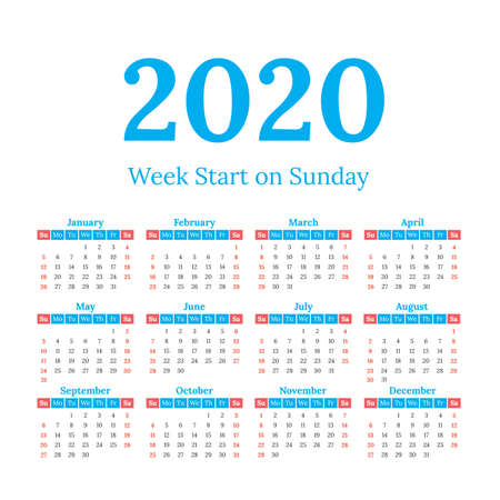2020 year vector calendar. Weeks start on Sunday