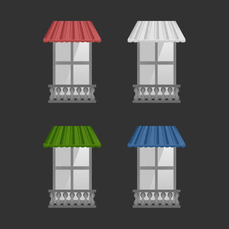 Set of Vector awnings on windows with black background wall and pilaster balcony