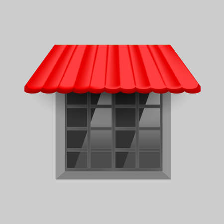 Vector red awning on window with gray background wall