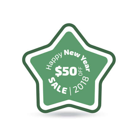 Emerald green Happy New Year Sale badge on white