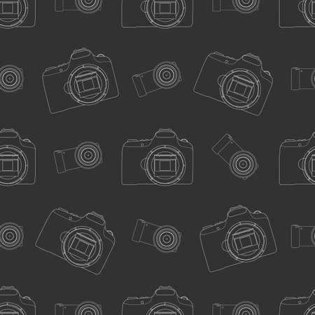 Photo camera seamless pattern on black background Ilustracja