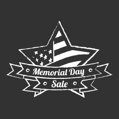 Memorial day vintage banner on a black background