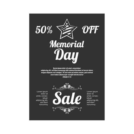 Memorial day sale vintage banner on black background.