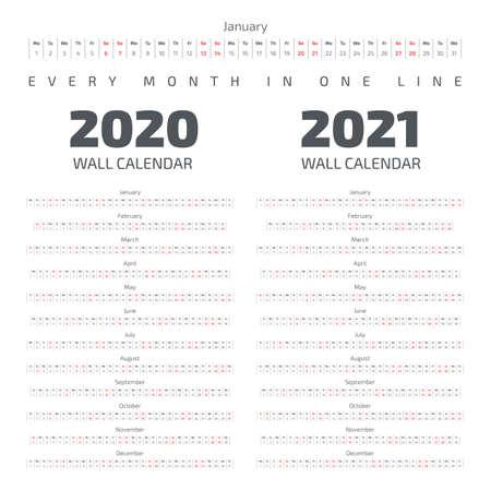 Calendario de pared 2020-2021. Todos los meses en una línea.