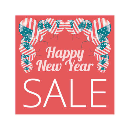 Happy New year sale banner with USA flag balloons