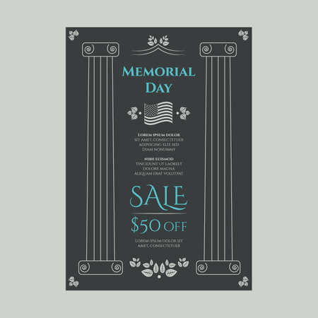 American Memorial day sale banner in vintage floral theme
