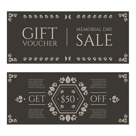 Gift certificate or card in vintage floral theme style dedicated Memorial day Ilustrace