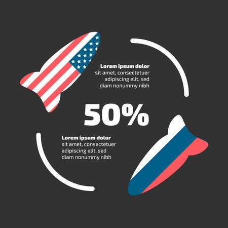 USA and Russia rockets banner. Sanctions and cold war theme Vectores