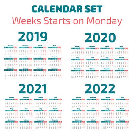 Simple 2019-2022 years calendar, week starts on Monday