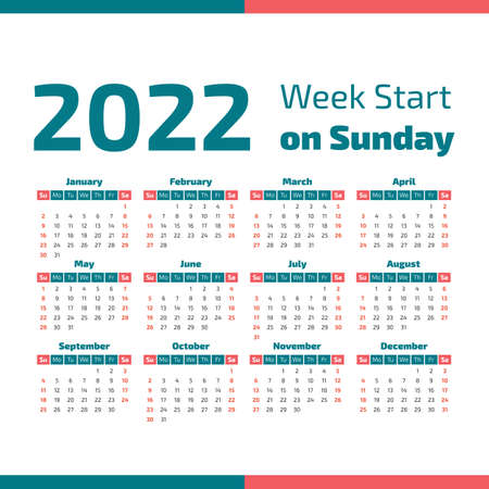 Simple 2022 year calendar, week starts on Sunday Standard-Bild