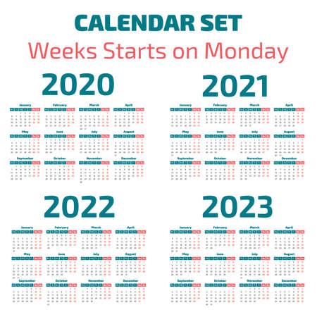 Prosty kalendarz na lata 2020-2023, tydzień zaczyna się w poniedziałek Ilustracje wektorowe