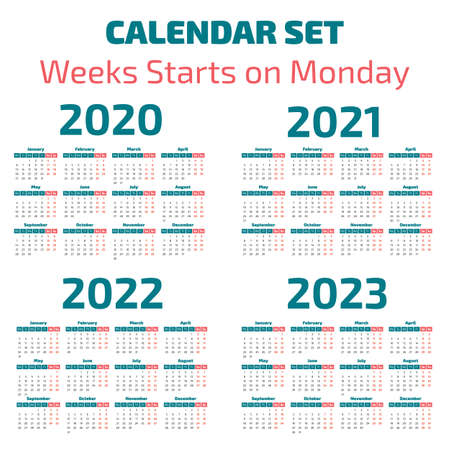 Simple 2020-2023 years calendar, week starts on Monday Ilustração