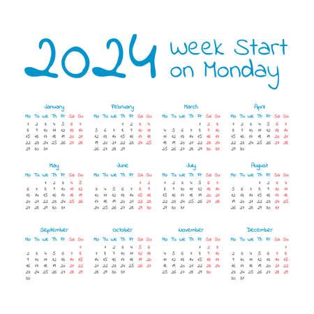 Simple 2024 year calendar, week starts on Monday 일러스트