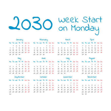 Simple 2030 year calendar, week starts on Monday