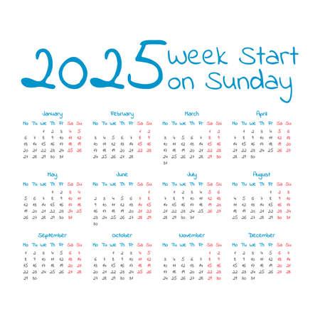 Simple 2025 year calendar, week starts on sunday Illustration