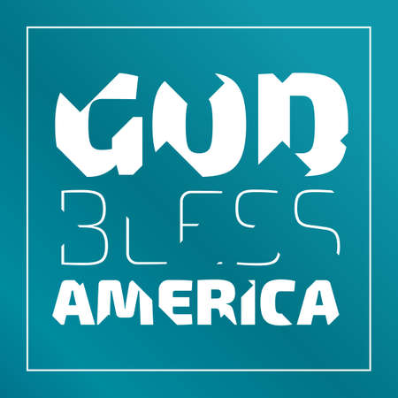God Bless America banner with broken letters on an emerald green background