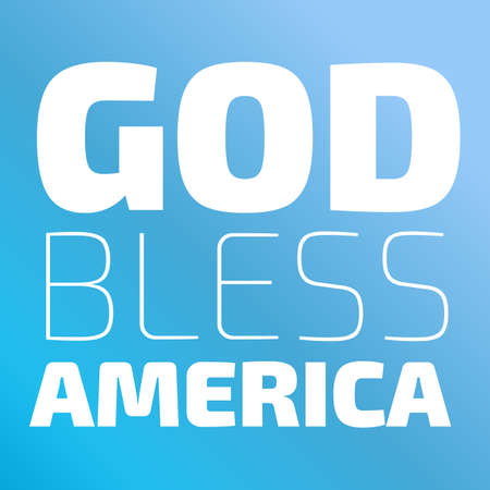 God Bless America banner on a blue background