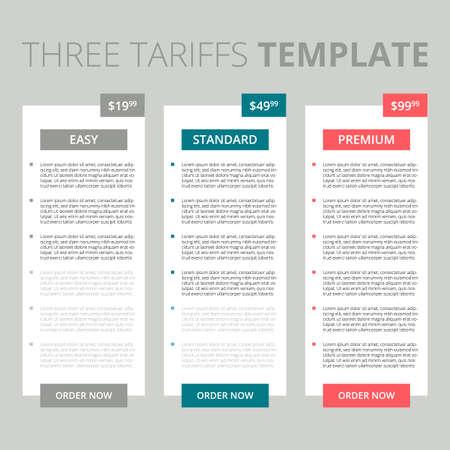 Liste de prix, trois tarifs pour site Web ou page de destination