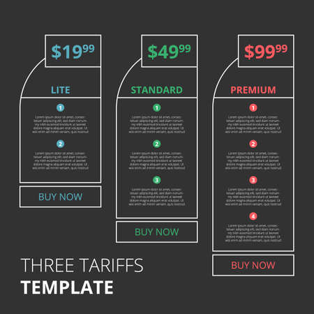 Price list, three tariffs for website or landing page