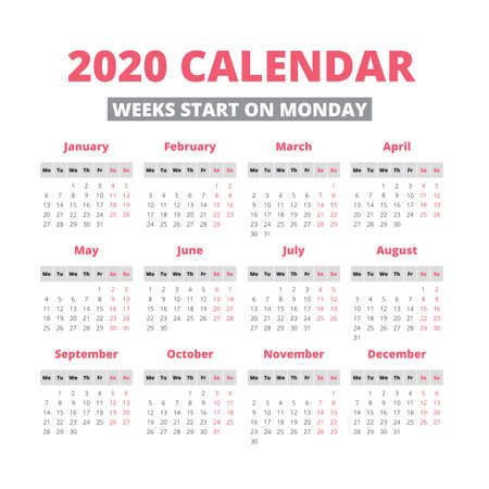 Simple 2020 year calendar, week starts on Monday Ilustração