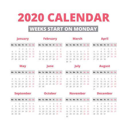 Simple 2020 year calendar, week starts on Monday Illustration
