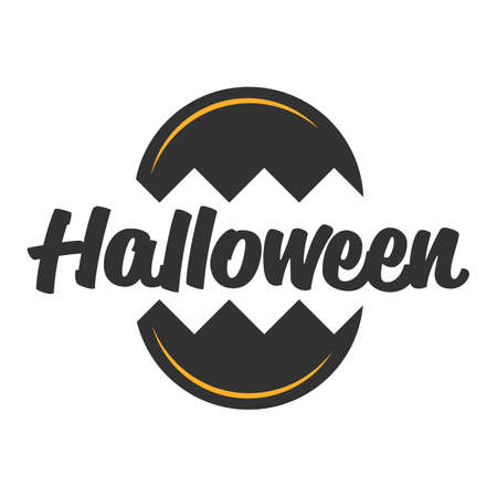 Halloween circled vector banner or sign on a white background Stock Vector - 105391087