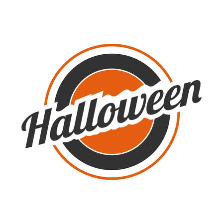 Halloween circled vector banner or sign on a white background