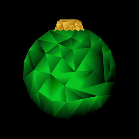 Low poly Christmas tree toy on the black background