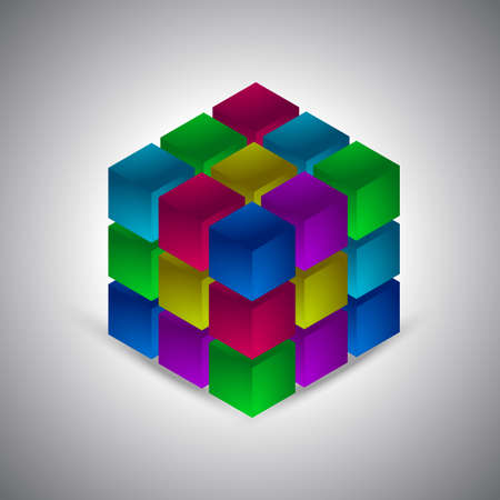 Isometric cube vector on the grayscale background