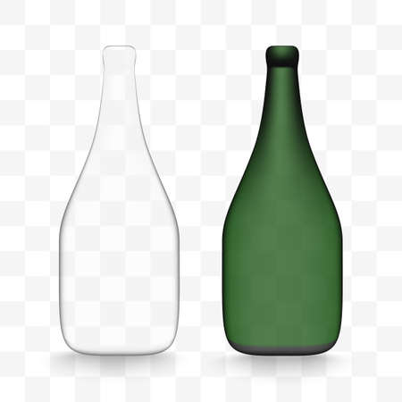 Realistic wine bottles set with shadow on the white background