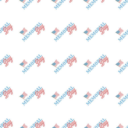 Memorial Day vector seamless pattern on the black background
