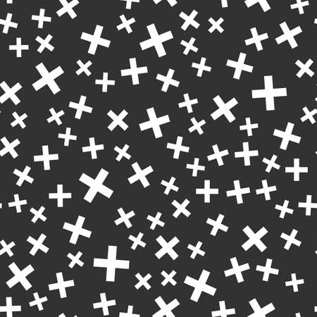 Abstract shapes vector seamless pattern on the black background