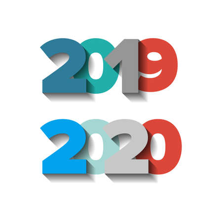 2019-2020 year color vector signs set with shadows Illustration