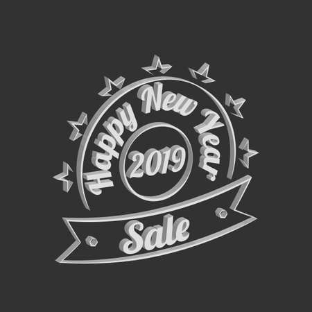 Happy New Year Sale vector vintage sign on the black background