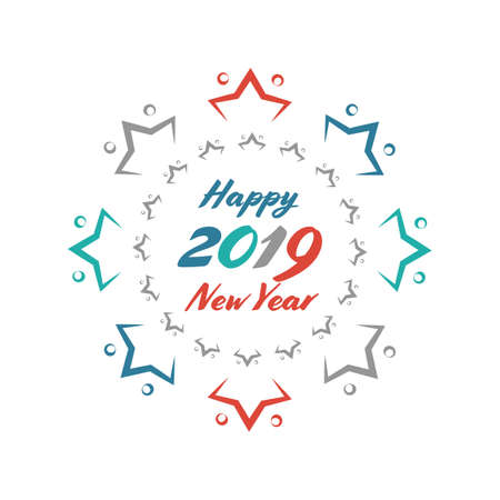 Happy New Year Sale vector vintage sign on the white background