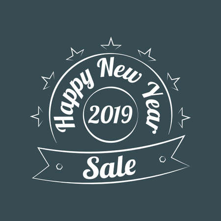 Happy New Year Sale vector vintage sign on the dark emerald green background Illustration