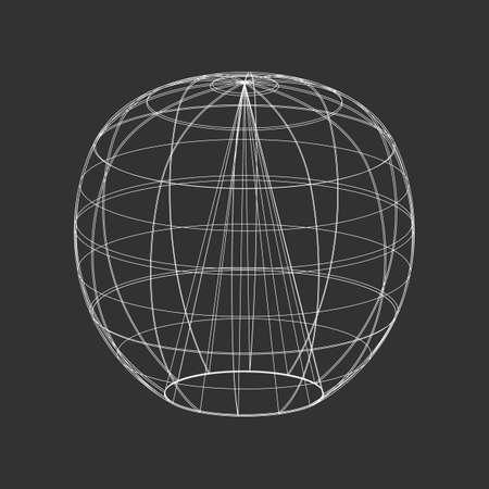 Outline vector sphere illustration on the black background Illustration