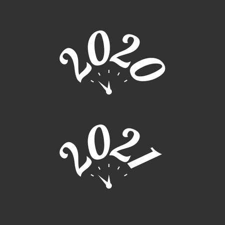 Calligraphic year date with clock vector sign set on the black background