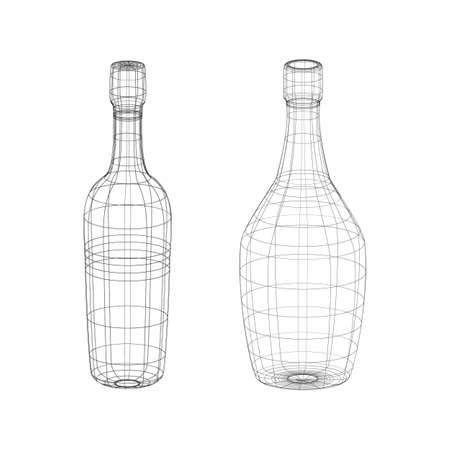 Outline vector alcohol bottles on the white background