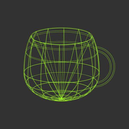Outline vector tea cup illustration on the black background Illustration