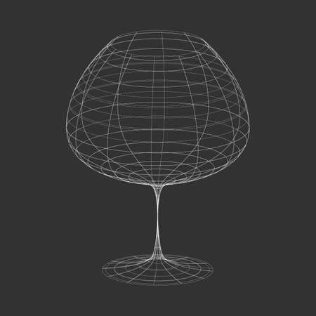 Outline white vector wine glass on the black background