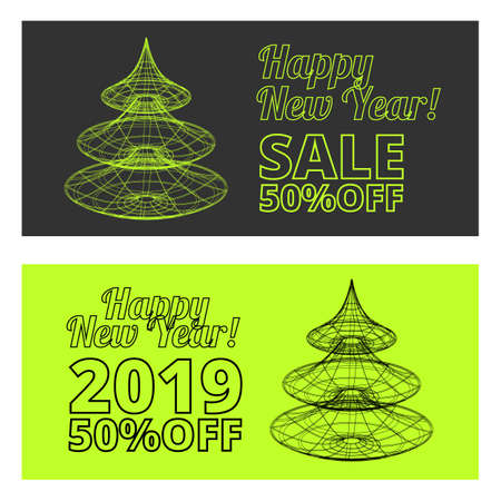 New Year sale outline vector banners set on the black and green backgrounds
