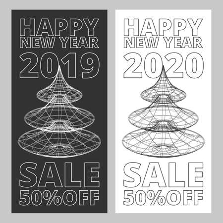 New Year sale outline vector banners set on the black and white backgrounds