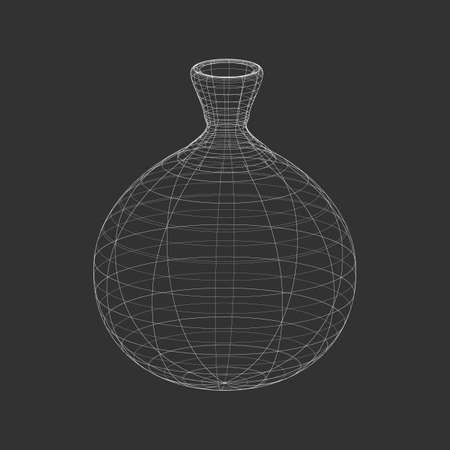 Outline white antique Amphora on the black background