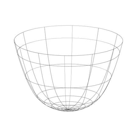 Outline vector drinking bowl on the white background